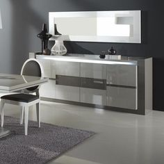 Display Renoir Sideboard 4 Door in Taupe And Grey Gloss With Lights With Mirror Connect a modern lifestyle with the characteristic flavor of the simple french style. To obtain living spaces where y. Silver Furniture, Mirrored Furniture, French Furniture, White Furniture, Dining Room Furniture, Furniture Design, Contemporary Furniture, Modern Contemporary, Buffet Vitrine