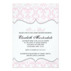 Damask Heart Pink Ribbon Baby Shower Invitation