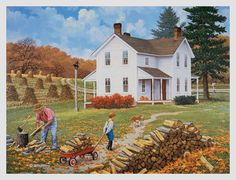 Inspiration and Crafts: Autumn Artist: John Sloane Country Art, Country Life, Country Living, Farm Pictures, Nostalgic Art, Autumn Scenes, Farm Art, Country Scenes, Autumn Art