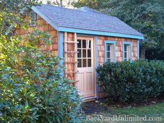 8'x12' Garden Shed with Cedar Shake Siding, Wood Gable Vent and Custom Cedar 9-Lite Door http://www.backyardunlimited.com/sheds.php