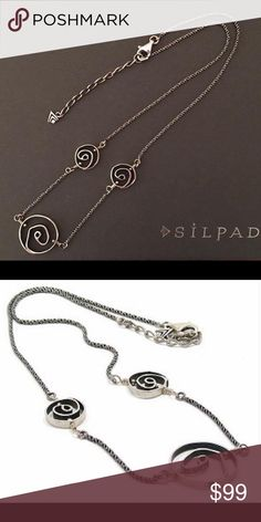 """Silpada Sterling Silver Necklace in a swirl design Vintage Silpada Sterling Silver Necklace in a swirl design. 18"""" long with a 2"""" extender and a lobster clasp. Silpada Jewelry Necklaces"""