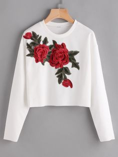 Shop Rose Appliques Ribbed Dropped Shoulders Sweatshirt online. SheIn offers Rose Appliques Ribbed Dropped Shoulders Sweatshirt & more to fit your fashionable needs.