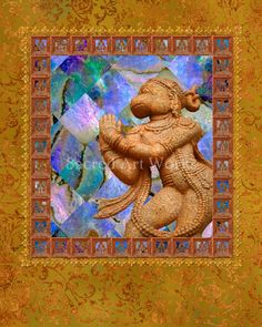 Hanuman with Mother of Pearl Patchwork by SacredArtWorks on Etsy, $26.50