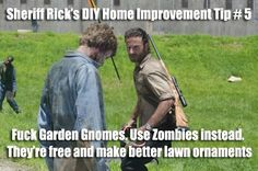 The Walking Dead's Sheriff Rick Grimes gives some helpful DIY Home Improvement Tips about the best way to decorate your lawn