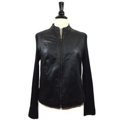 JACLYN SMITH CLASSIC Size L Large Womens Leather Sweater Jacket Black Zip EUC…