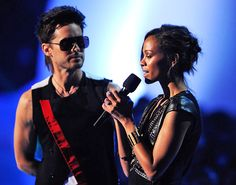 30 Seconds To Mars front man Jared Leto and actress Zoe Saldana invite newcomers Young The Giant to perform 'My Body' at the 2011 MTV Video Music Awards in Los Angeles. | MTV Photo Gallery