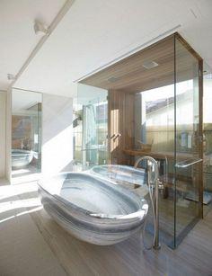 I love the bathtub! Wave Shaped House in Bondi Beach, Sydney, Australia - Brian Meyerson Architects Bathroom Interior, Modern Bathroom, Bathroom Ideas, Spa Bathrooms, Stone Tub, Futuristic Home, Dream Bath, Architect House, Australia Living