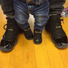 but of course with cowboy boots and a belt on the baby! Cute Baby Shoes, Baby Boy Shoes, Girls Shoes, Family Outfits, Baby Boy Outfits, Baby Jordan Shoes, Zapatillas Nike Jordan, Daddy And Son, Baby Jordans