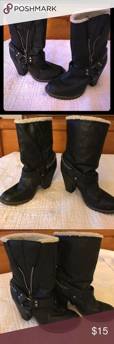 Rocker chic Black half calf boots Style and comfort! Great fall boots! Gently worn and well loved. Candie's Shoes Heeled Boots