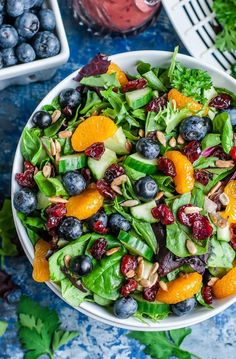 Cranberry Blueberry Salad with Blueberry Balsamic Dressing I'm head over heels in LOVE with this healthy Cranberry Blueberry Spring Mix Salad with Blueberry Balsamic Dressing! This scrumptious Summer salad is fun, fruity, and full of flavor! Salad Recipes For Dinner, Healthy Salad Recipes, Healthy Snacks, Healthy Eating, Spinach Salad Recipes, Fresh Salad Recipes, Balsamic Salad Recipes, Salads For Dinner, Pasta Recipes