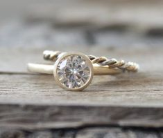 SET - 7mm Moissanite Bezel Engagement Ring and Two Tone Yellow and White Gold Matching Twist Band