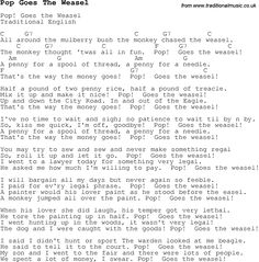 Pop Goes The Weasel Song | ... lyrics with chords for guitar, banjo etc for song pop-goes-the-weasel
