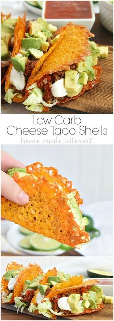 Have a low carb taco night with these cheese taco shells made from baked cheddar cheese formed into the shape of a taco! Stuff your low carb taco with ground chorizo and ground beef cooked in Rotel and topped with diced avocado and sour cream. #YesYouCAN #ad @Greg