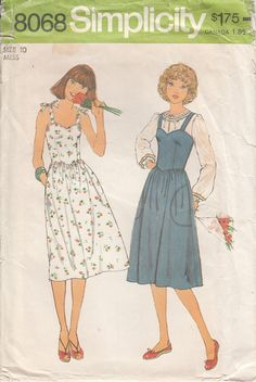 Simplicity 8068 1970s Shoulder Tie Jumper or Dress and Peasant Blouse by CedarSewing