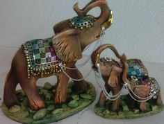 Elefante Hindu, Elephants Photos, Elephant Sculpture, Elephant Parade, Glass Figurines, Diy Projects To Try, Coloring Pages, Decoupage, Diy And Crafts