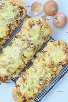 Bread with onions, a typical Dutch uienbrood. Easy to make with 900 grams of onions and lots of delicious cheese.