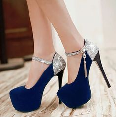 Sexy Ultra-high Sequins High-heeled Shoes With Thin With Waterproof--blue on Luulla
