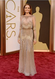 Angelina Jolie wears ELIE SAAB Haute Couture Fall Winter 2013-14 to the 86th Annual Academy Awards