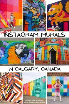 NEW Instagream Murals in Calgary, Alberta, Canada! Find, pose, and snap with this handy mural guide and map! #instagram #travel #calgary #travelguide Instagram Wall, New Instagram, Instagram Travel, Instagram Posts, Wall Colors, Colours, Cool Backgrounds, Red Bricks, Mural Painting