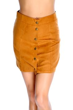 Make a statement with this sexy mini skirt! Featuring button up front closure, above knee length, and fitted. 100% Polyester