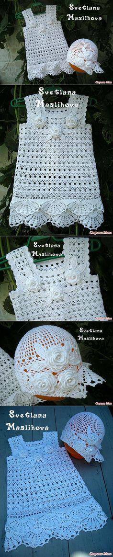 Вязание: белоснежный наряд для маленькой леди.