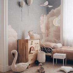 Create the bedroom of your dreams. Gorgeous space room by featuring our wallpaper – Blush Clouds Daydream. Cloud Bedroom, Baby Bedroom, Baby Room Decor, Nursery Room, Bedroom Decor, Girl Bedrooms, Bedroom Sets, Nursery Wallpaper, Wallpaper Decor