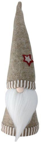 "The Holiday Aisle 16"" Holiday Moments Striped Trim Hat and Bottom Decorative Table Top Cone Gnome"