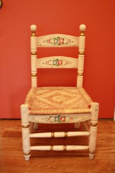 Vintage Folk Art Child's Chair in Painted Wood by VintagebyViola, $115.00 great size for toddler