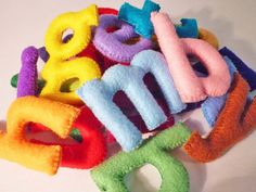 Ready to ship! Felt stuffed alphabet for kids to learning alphabet A - Z 26 Lowercase letters made of colorful soft felt with polyester fiber stuffing. Letter measures approx. 2 inches in height 100% hand cut and hand sewn.