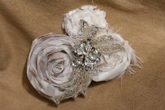vintage inspired wedding flower hair piece ivory and cream silver sequins rhinestones