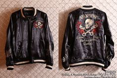 anch-crash: You can buy it only here! Our store comment VANSON バンソンスカル embroidery reversible ska Jean skeleton wing fire American casual bikie men jacket Father's Day present American Casual, Us Store, Fathers Day Presents, Satin Jackets, Global Market, Skeleton, Fire, Embroidery, Sleeves