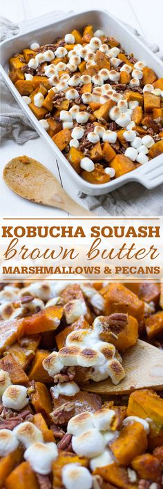 Roasted Kobucha Squash with Brown Butter, Marshmallows, and Pecans is a delicious alternative to classic sweet potato casserole for Thanksgiving.