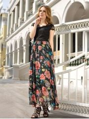 Summer Ladies Fashion Flower Pattern Lace Patchwork Chiffon V-neck Short Sleeve Maxi Dress