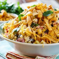 BBQ Ranch Pasta Salad with chicken and crunchy corn chips.