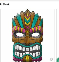 Colorful tiki mask showing teeth anger managment dude spikoli tiki masks for boys and guys at lilah party stopboris Gallery