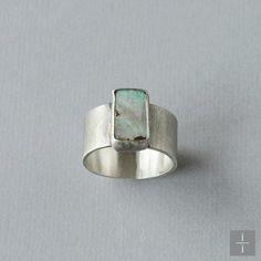 Rectangle boulder opal ring. Handmade sterling silver jewelry. Jackie Jordan Jewelry