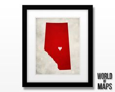 Canada - Alberta Province Silhouette Art Map Print - Home Town Love - Personalized Art Print Available in Multiple Sizes by WORLDofMAPS on Etsy