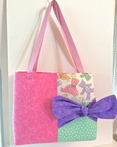 Teddy Bear Diaper Bag with Bow- Baby Tote Bag - Bag with Pockets - on Etsy, $36.00