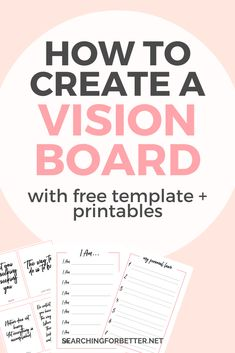 Creating A Vision Board 2020 (With Free Vision Board Template + Printables) - Searching For Better - - Inspiration and tips on creating a vision board for Vision boards are a great way to get the law of attraction to work for your goals! Vision Board Template, Digital Vision Board, Planner Free, Goal Board, Explanation Text, Creating A Vision Board, Making Ideas, Making Goals, 2020 Vision
