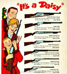 Vintage Ad Daisy rifles Nothing says Happy Holidays like the gift of a good ol' American gun. Vintage Toys 1960s, Retro Toys, Vintage Ads, Christmas Ad, Vintage Christmas, Old Advertisements, Advertising, Childhood Memories, School Memories