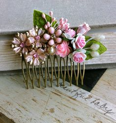 Pink rose comb vintage flower comb Pink wedding by tiedupmemories, $36.00