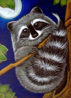 raccoon paintings | Art: RACCOON AT NIGHT 2 by Artist Cyra R. Cancel