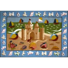Fun Rugs Olive Kids Sand Castle 39 inch x 58 inch Rug, Multicolor