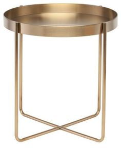 The Gaultier side table projects a refined sophistication highlighted by an emphasis on purity of form. Finely crafted from lightweight gold brushed stainless steel, the Gaultier radiates lightness and grace. Chair Side Table, Metal Side Table, Modern Side Table, End Tables, Occasional Tables, Gold Side Tables, Gold Table, Coffee Tables, Gold Furniture
