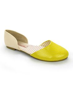Look what I found on #zulily! Yellow & Cream Shirley Flat #zulilyfinds