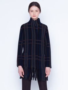 Knitted cardigan in cashmere silk in ribbed plaid jacquard. The pullover has a lapel collar, features bottom fringes and pockets Silk Taffeta, Silk Crepe, Marmaris, Knit Cardigan, Parka, Cashmere, Stylists, Trousers, High Neck Dress