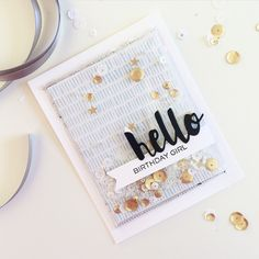 Hello Birthday Girl shaker card with painted hello wafer die #sssfave
