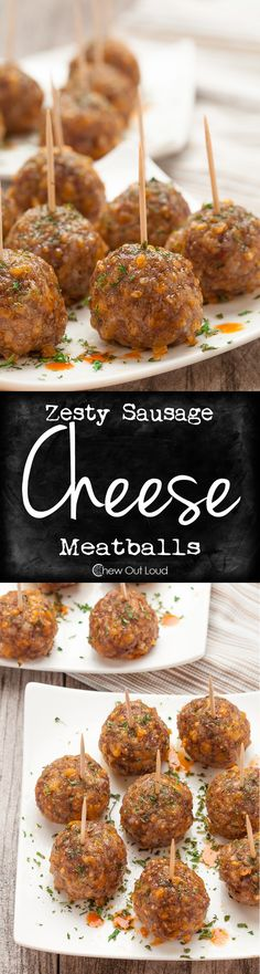 Easy, Zesty, Cheesy Sausage Meatballs. So tender, flavorful, and perfect for apps or weeknight meal.