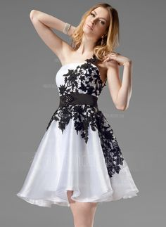 Homecoming Dresses - $151.99 - A-Line/Princess One-Shoulder Short/Mini Organza Satin Homecoming Dress With Lace Sash Beading (022004454) http://hochzeitstore.com/A-line-Princess-One-shoulder-Short-Mini-Organza-Satin-Homecoming-Dress-With-Lace-Sash-Beading-022004454-g4454