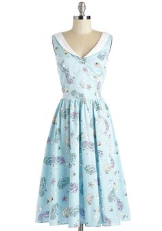 In the Oceanic of Time Dress. Showcase your aquatic ardor in this vintage-inspired, seaglass-hued frock! #blue #modcloth